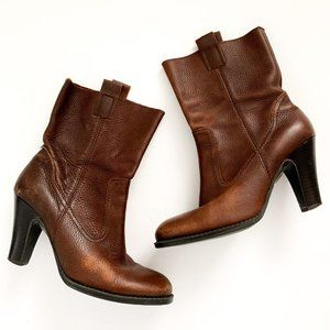Nine & Co. Brown Pebbled Leather Pull-On Boots 7.5